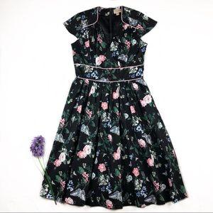 Black Blue Butterfly Floral V Neck Pin Up Dress